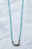 Blue Turquoise & Brass Beaded 4-in-1 Chain - 36-Inch