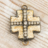 White Turquoise & Rhinestone Cross Chain-to-Charm Connector