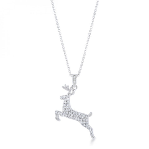 .35 Ct Cz Rhodium Reindeer Pave Holiday Pendant