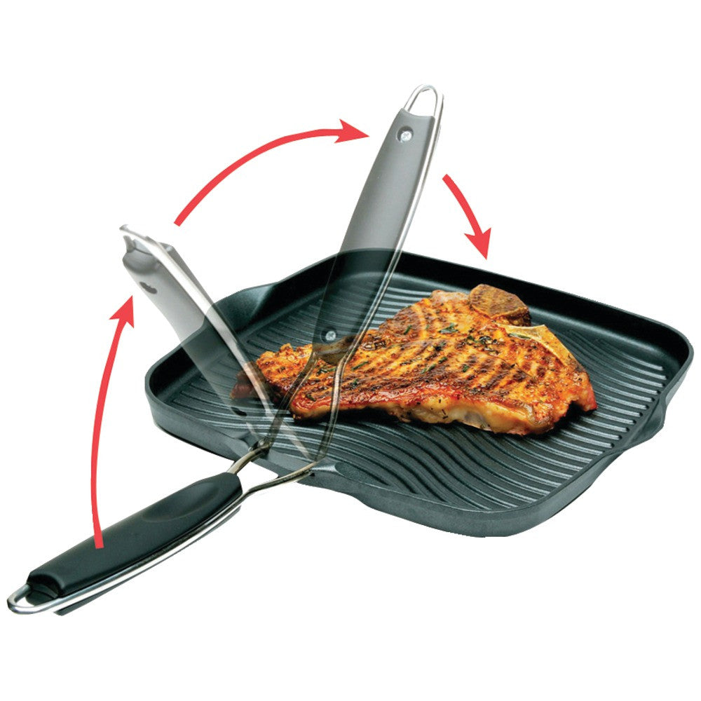 "Starfrit 10"" X 10"" Grill Pan With Foldable Handle - MNM Gifts"