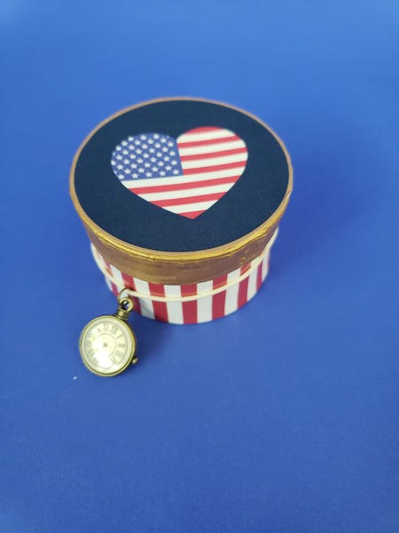 Hatbox- Red, White and Blue
