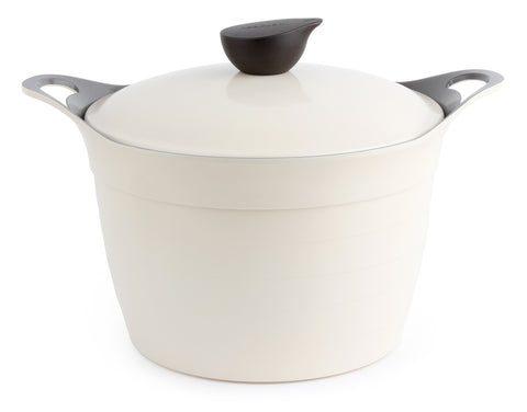 Neoflam Eela 8 Quart Ceramic Nonstick Covered Stockpot in Ivory