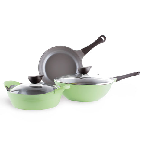 Neoflam Eela 5 Piece Ceramic Nonstick Cookware Set in Apple Green (includes Chef's Pan)