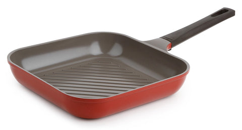 Neoflam Mitra 11 Inch Square Ceramic Nonstick Grill Pan in Chili Pepper Red