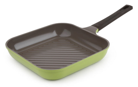 Neoflam Mitra 11 Inch Square Ceramic Nonstick Grill Pan in Avocado Green
