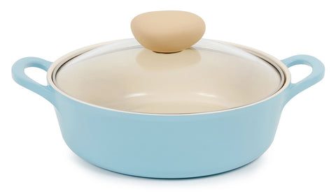 Retro Ceramic Nonstick Stockpot with Glass Lid - 2QT Low