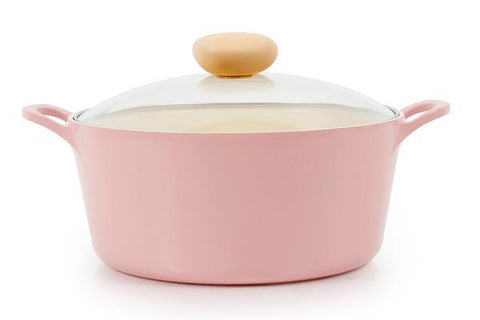 Retro Ceramic Nonstick Stockpot with Glass Lid - 5QT