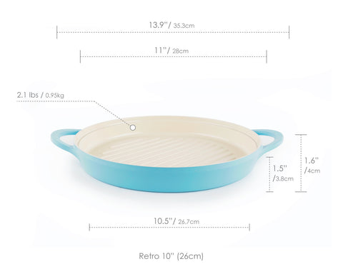 "Retro 10"" Round Grill Pan in Mint"