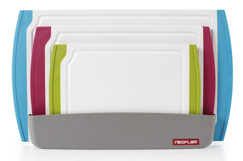 *NEW* Neoflam 4 Piece Coded Cutting Board Set with Microban SilverShield Antimicrobial Protection