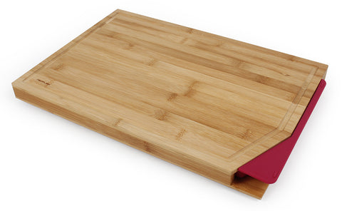 Cut2Tray Bamboo Cutting Board with Tray, Red