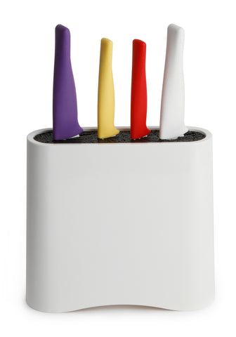 Neoflam Aveco 5 Piece Kitchen Knife Block Set in Bright Multicolor, Ceramic Nonstick Coating