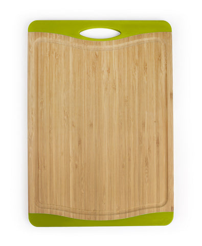neoflam flutto 11 inch bamboo cutting board with nonslip edges in green