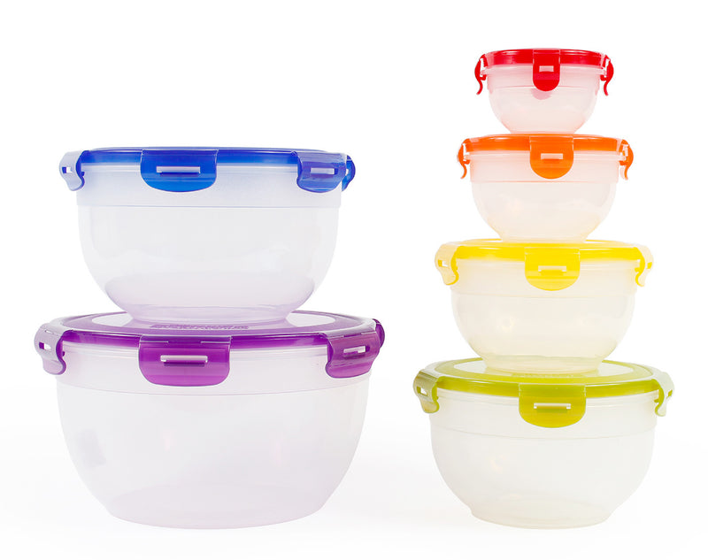 Food Storage Plastic Bowls with Lids, 12pc Set