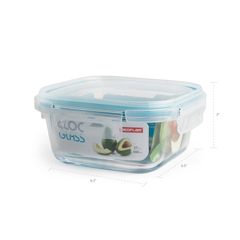Neoflam Cloc Glass Square Food Storage Set, Airtight Lid