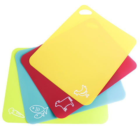 Neoflam 4 Piece Flexible Cutting Mats with Non-Slip Grip in Multicolor