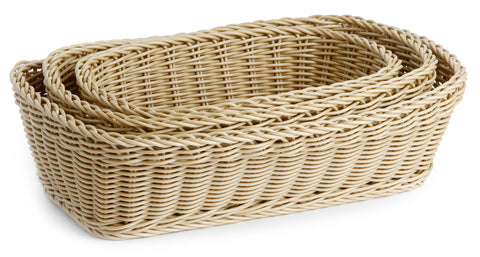 Neoflam Plasket 3 Piece Hand-woven Rectangular Basket Set in Light Brown, Synthetic Fiber
