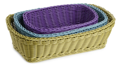 Plasket 3pc Hand-woven Rectangular Basket Set, Multicolor