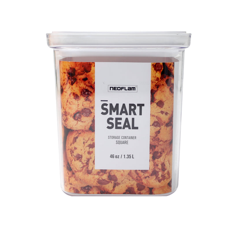 Neoflam Smart Seal - Square 1.5QT (1.4L) w/ White Lid, Food Storage
