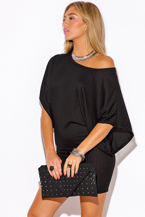 0d98b7186a7 ... Women s sexy black ribbed knit off the shoulder kimono sleeve sweater  mini dress ...