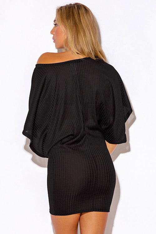 4d2a9331974 ... Women's sexy black ribbed knit off the shoulder kimono sleeve sweater  mini dress ...