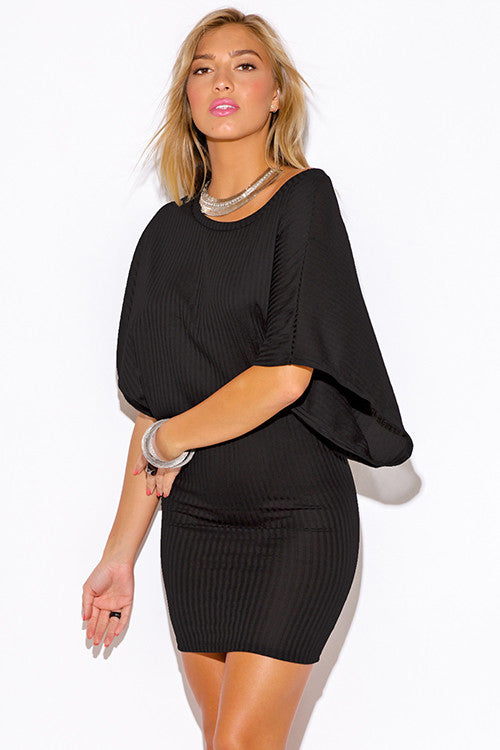 2cbf39cdf78 ... Women's sexy black ribbed knit off the shoulder kimono sleeve sweater  mini dress ...