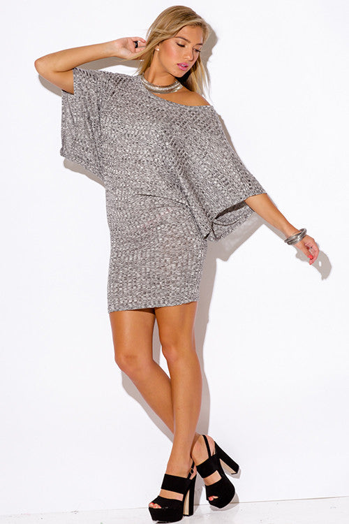 2cc66398f1d ... Women's Gray Ribbed Knit Off The Shoulder Kimono Sleeve Sweater Sexy  Mini Dress ...