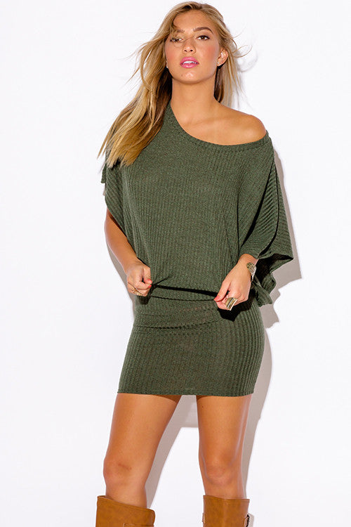 6c0e32ffc074 ... Women's Olive Army Green Ribbed Knit Off The Shoulder Kimono Sleeve  Sweater Mini Dress