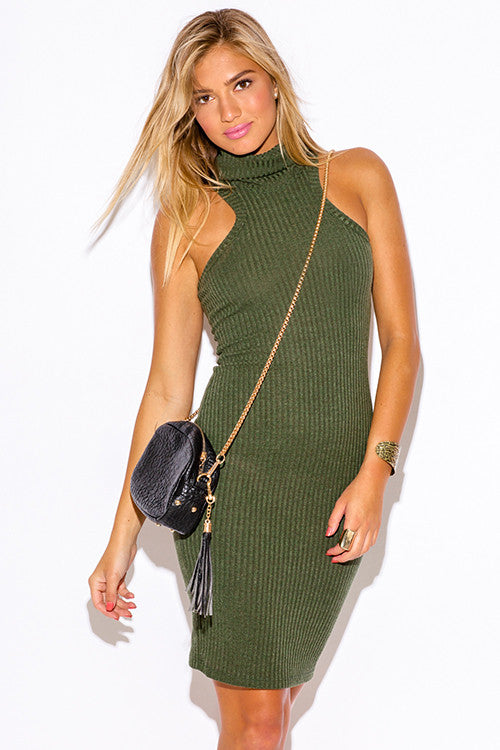 Women's olive army green ribbed turtleneck sweater midi ...