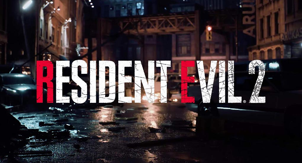Image of a dilapidated city street with broken down cars. The Resident Evil logo is overlayed on top of this image.