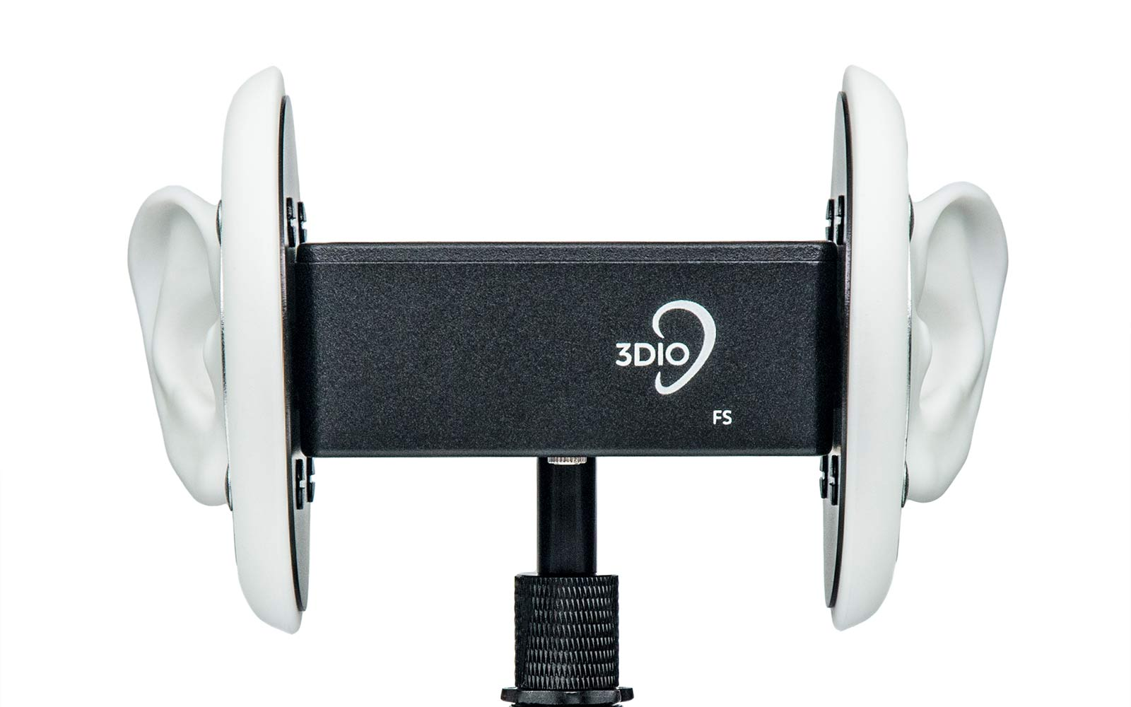 3Dio binaural microphone with two prosthetic ears.