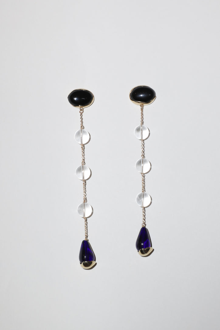 Image of Faris Ovo Sway Earrings in Bronze, Lapis, Quartz and Blue Glass