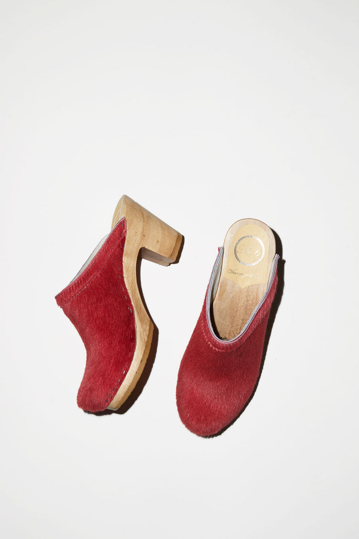 Image of No.6 Old School Clog on High Heel in Melon Pony
