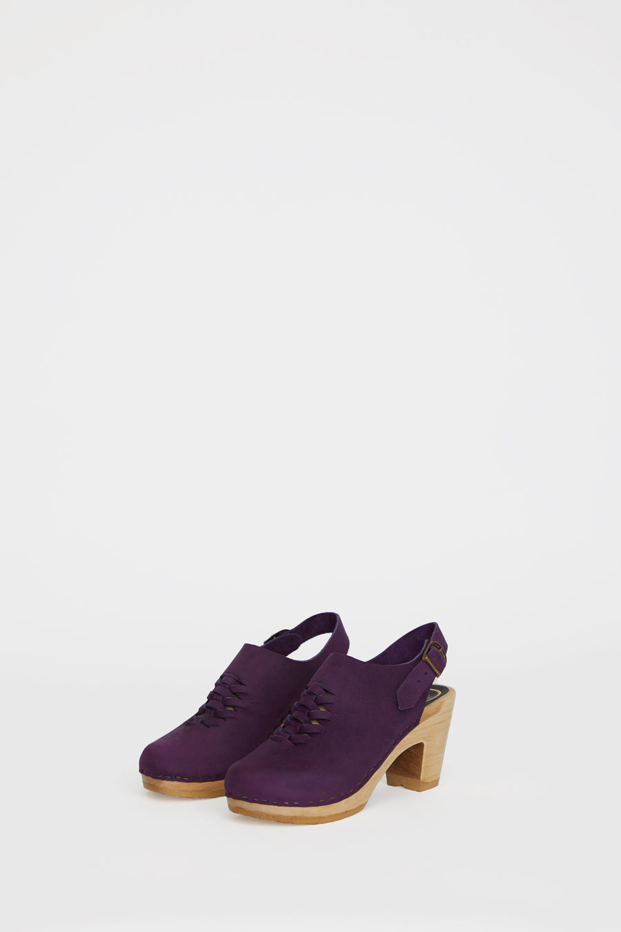 No.6 Aimara Woven Clog on High Heel in Purple