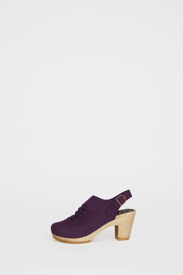 Image of No.6 Aimara Woven Clog on High Heel in Purple