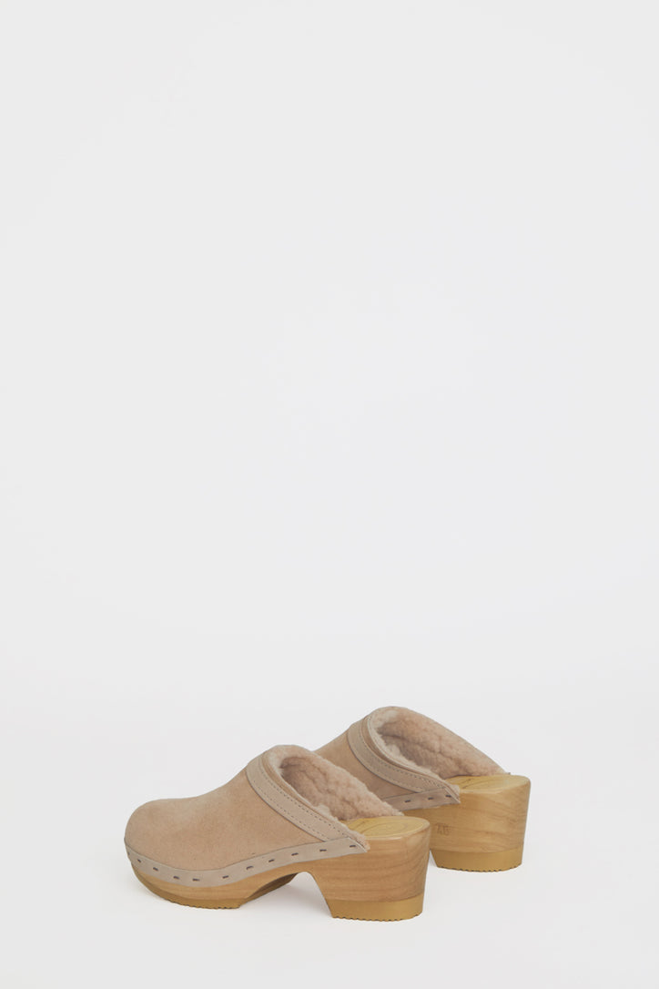 Image of No.6 Dakota Shearling Clog on Mid Heel in Bone Suede