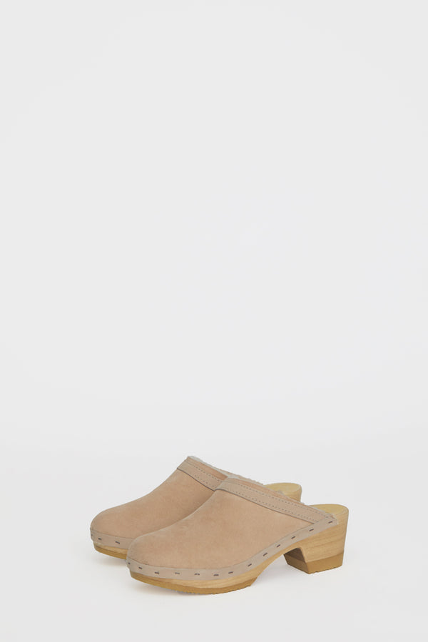 No.6 Dakota Shearling Clog on Mid Heel in Bone Suede