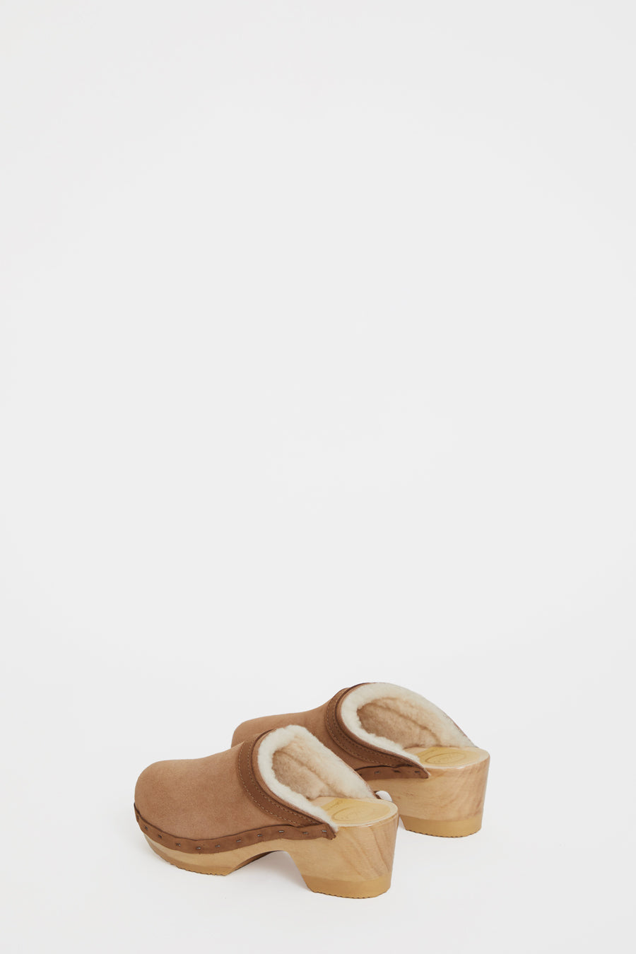 No.6 Dakota Shearling Clog on Mid Heel in Fawn Suede