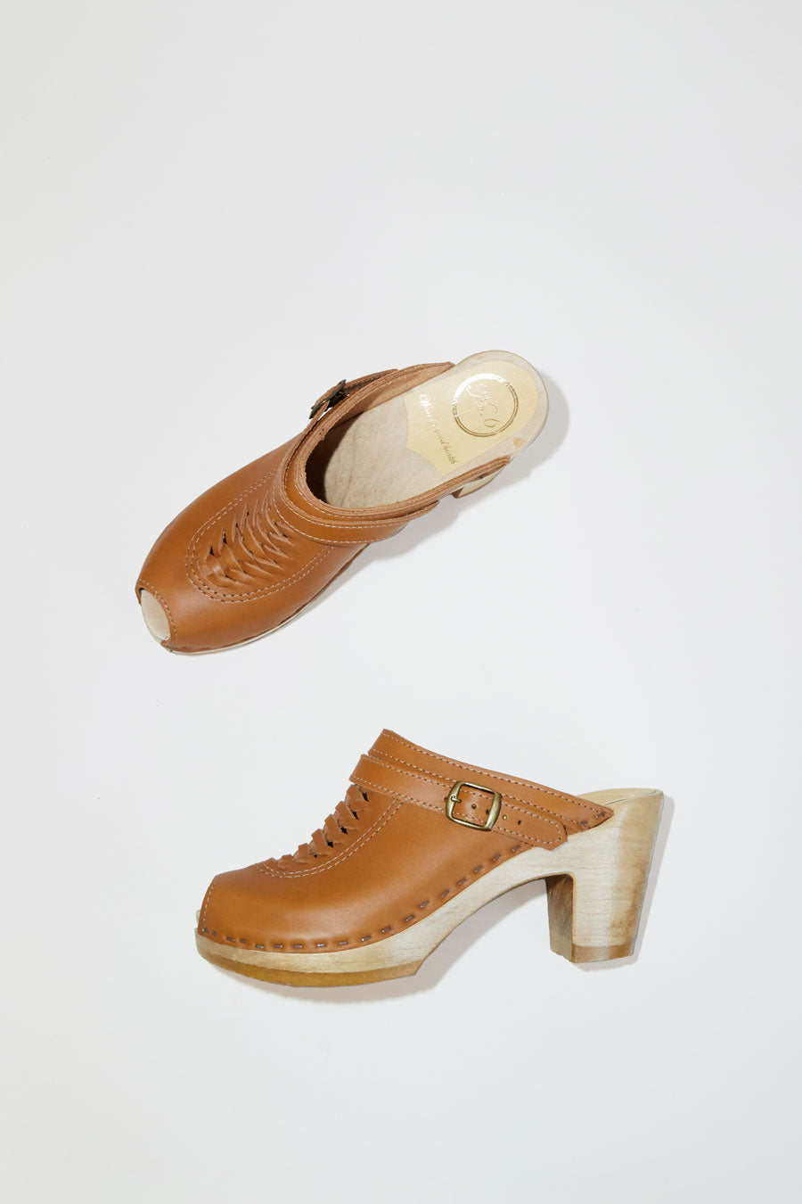 No.6 Open Toe Weave Clog on High Heel in Palomino