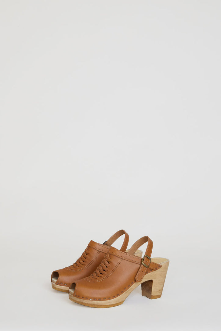 Image of No.6 Open Toe Weave Clog on High Heel in Palomino