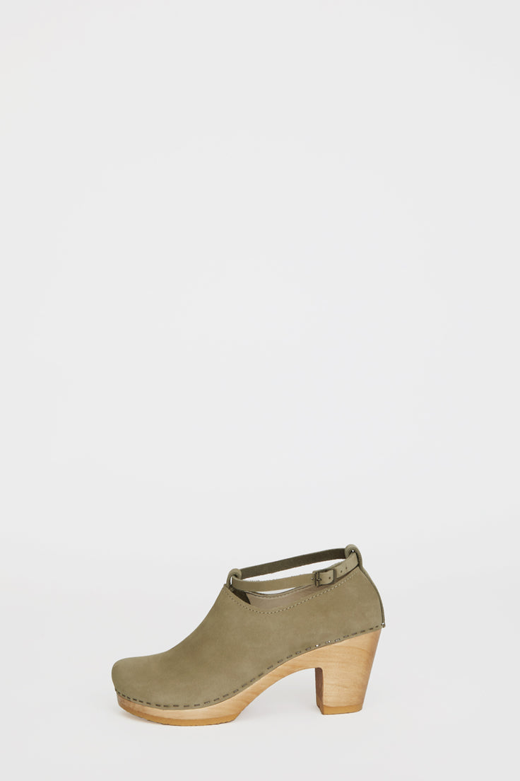 Image of No.6 Classic Strap Clog on High Heel in Celery