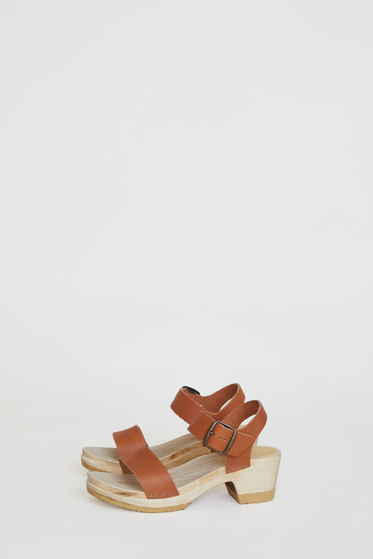 Image of No.6 Two Strap Clog on Mid Heel in Caramel