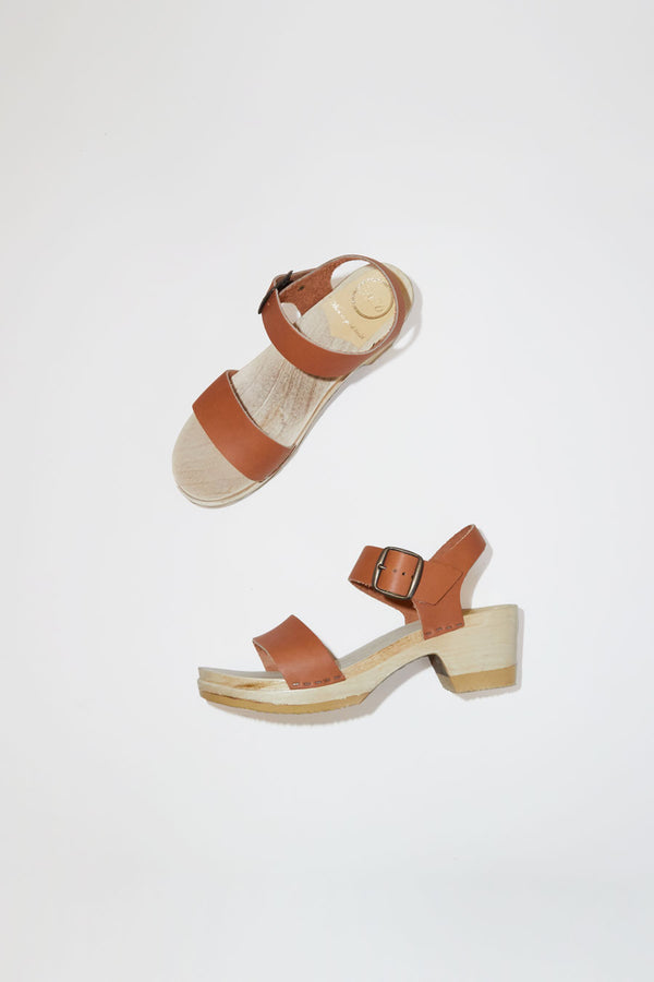 No.6 Two Strap Clog on Mid Heel in Caramel