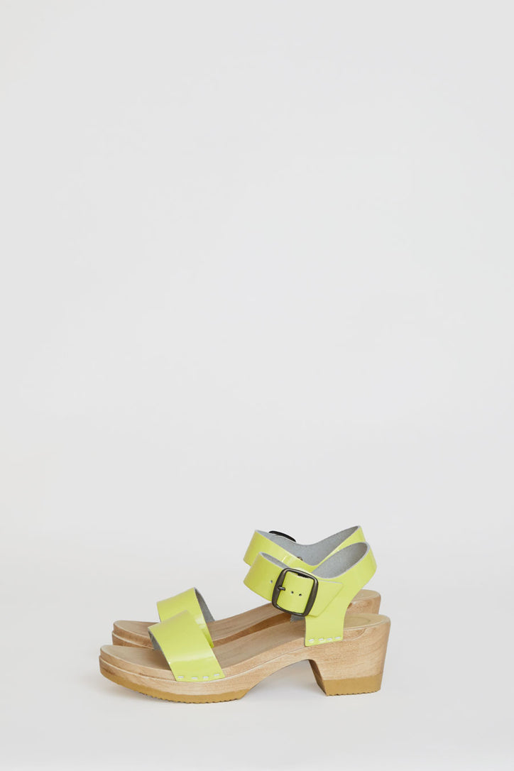 Image of No.6 Two Strap Clog on Mid Heel in Yellow Patent