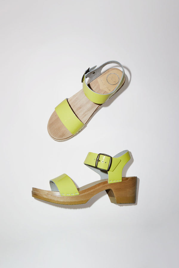 No.6 Two Strap Clog on Mid Heel in Yellow Patent
