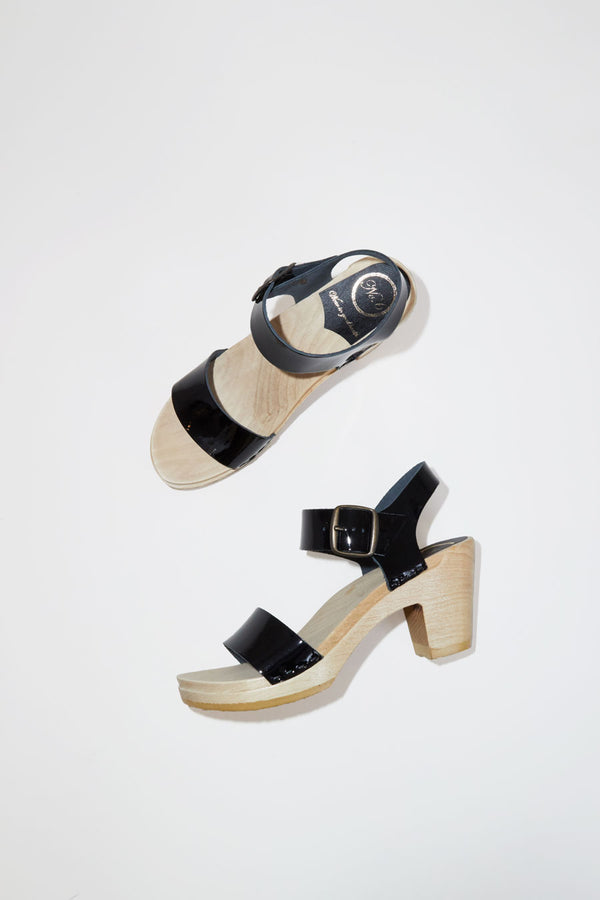 No.6 Two Strap Clog on High Heel in Black Patent