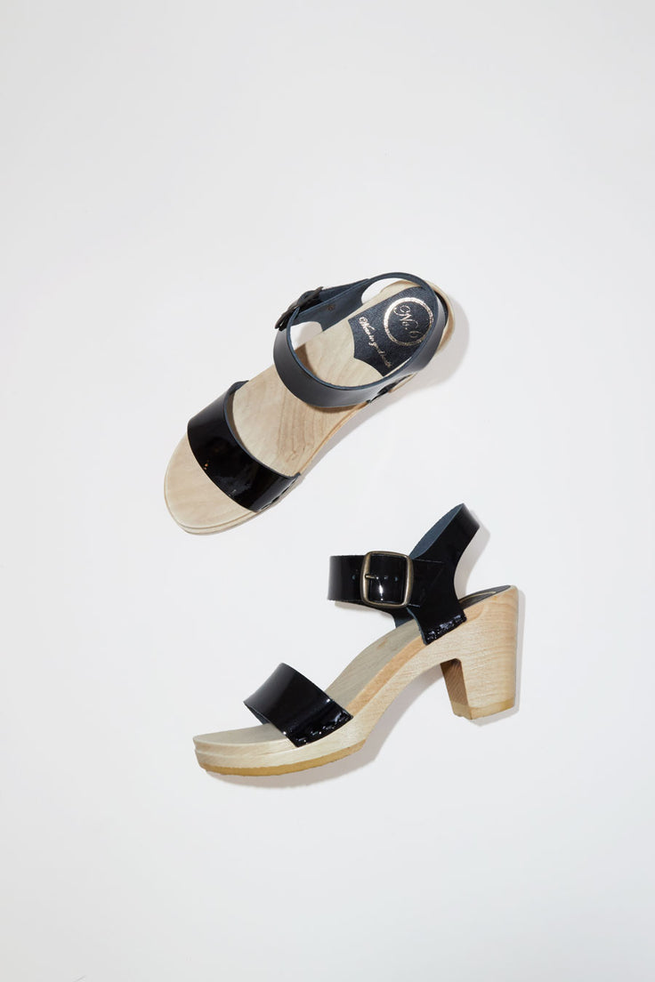 925833ed54a No.6 Two Strap Clog on High Heel in Black Patent