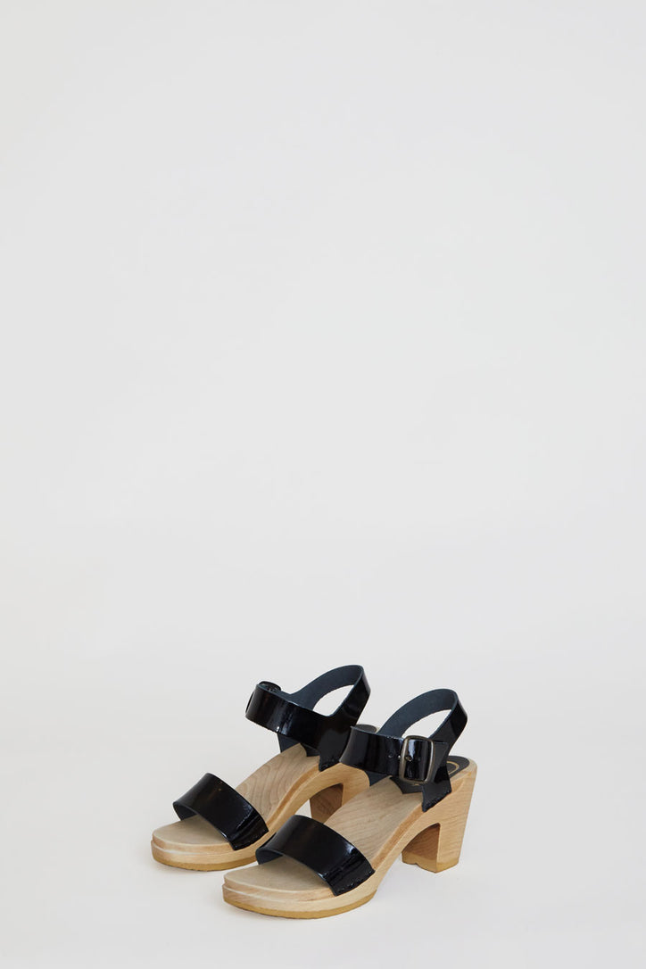 Image of No.6 Two Strap Clog on High Heel in Black Patent