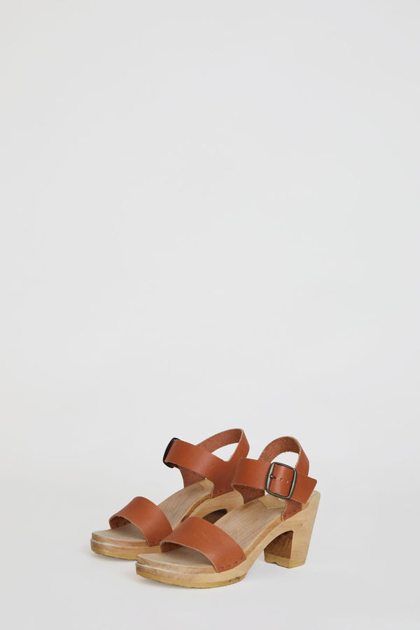 No.6 Two Strap Clog on High Heel in Caramel