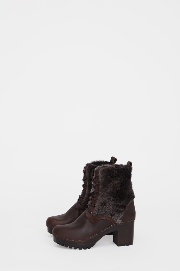 Image of No.6 Audubon Shearling Lace Up Clog Boot on High Tread in Molasses / Black Brindle on Coffee Base