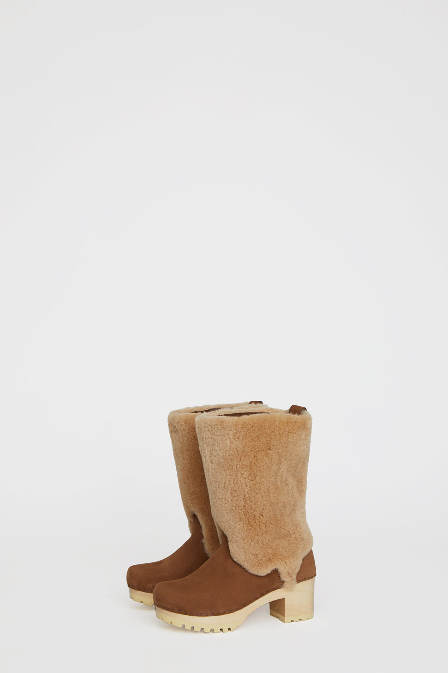 No.6 Alpha Shearling Clog Boot on Mid Tread in Honey Aviator on White Base